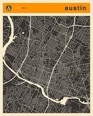 Map Art Digital Art - Austin Map by Jazzberry Blue