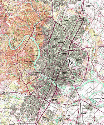 Old Map Digital Art - Austin Mid Century Map by Pablo Franchi