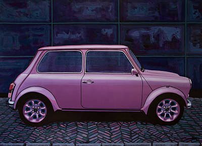 Old Car Painting - Austin Mini Cooper 1964 Painting by Paul Meijering