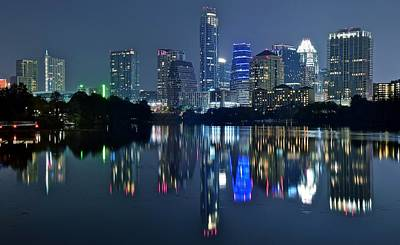 Photograph - Austin Night Reflection by Frozen in Time Fine Art Photography
