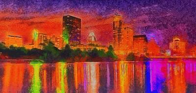 Americas Digital Art - Austin Night Skyline  - Special Finishing -  - Da by Leonardo Digenio