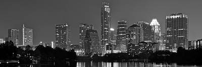 Photograph - Austin Panorama Black And White Night by Frozen in Time Fine Art Photography