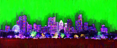 Austin Skyline 152 - Pa Art Print by Leonardo Digenio