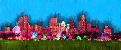 Austin Skyline Digital Art - Austin Skyline 153 - Da by Leonardo Digenio