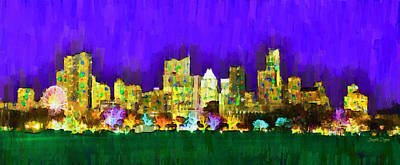 Line Painting - Austin Skyline 154 - Pa by Leonardo Digenio