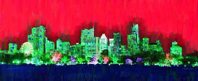 Scenes Digital Art - Austin Skyline 156 - Da by Leonardo Digenio