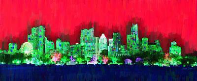 Lit Painting - Austin Skyline 156 - Pa by Leonardo Digenio