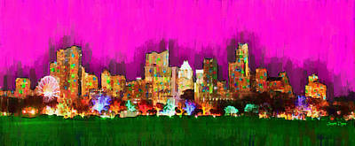 Bank Painting - Austin Skyline 159 - Pa by Leonardo Digenio