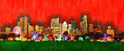 Austin Skyline Digital Art - Austin Skyline 160 - Da by Leonardo Digenio
