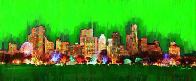 Urban Painting - Austin Skyline 163 - Pa by Leonardo Digenio