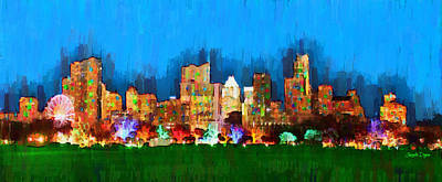 Austin Skyline Digital Art - Austin Skyline 165 - Da by Leonardo Digenio