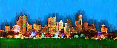 Downtown Painting - Austin Skyline 165 - Pa by Leonardo Digenio