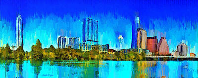 Austin Skyline Digital Art - Austin Skyline 301 - Da by Leonardo Digenio