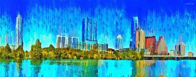 Lit Painting - Austin Skyline 310 Large Format - Pa by Leonardo Digenio