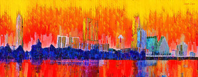 Area Painting - Austin Skyline 311 - Pa by Leonardo Digenio