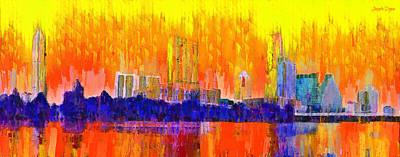 Lit Digital Art - Austin Skyline 312 - Da by Leonardo Digenio
