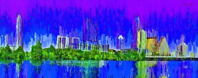 Colorful Painting - Austin Skyline 313 - Pa by Leonardo Digenio
