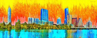 Skyscraper Digital Art - Austin Skyline 315 - Da by Leonardo Digenio