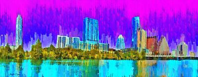 Tx Digital Art - Austin Skyline 316 - Da by Leonardo Digenio