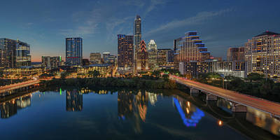 Frost Tower Photograph - Austin Skyline At Night 7-4 by Rob Greebon