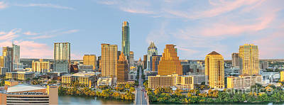 Downtown Photograph - Austin Skyline At Sunset Pano by Tod and Cynthia Grubbs