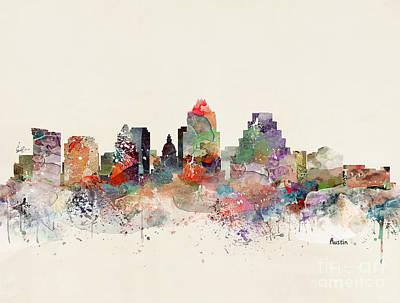 Painting - Austin Skyline by Bleu Bri