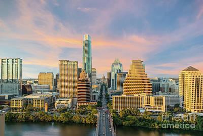 Austin Skyline Golden Glow Art Print by Tod and Cynthia Grubbs