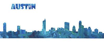 Austin Skyline Mixed Media - Austin Skyline In Clean Scissor Cut Style by M Bleichner