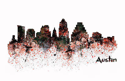 Mixed Media - Austin Skyline  by Marian Voicu