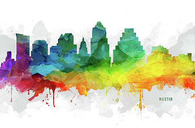 Austin Skyline Digital Art - Austin Skyline Mmr-ustxau05 by Aged Pixel