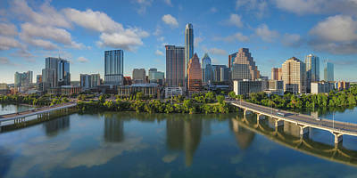 Frost Tower Photograph - Austin Skyline Panorama Spring Afternoon 7-1 by Rob Greebon