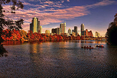 Photograph - Austin Skyline Sunset by Judy Vincent