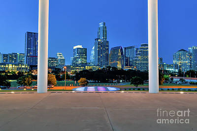 Austin Skyline Photograph - Austin Skyline Twilight At Long Center by Tod and Cynthia Grubbs