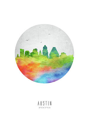 Austin Skyline Digital Art - Austin Skyline Ustxau20 by Aged Pixel