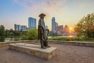 Stevie Ray Vaughan Photograph - Austin Sunrise And The Srv Statue 1 by Rob Greebon