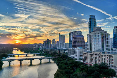Austin View Down Town Lake  Art Print