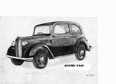 Austin Drawing - Austin Ten 1940 by Alberto Schlossberg