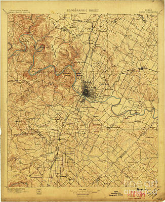 Old Map Digital Art - Austin Texas 1897 Map Cart  by Pablo Franchi