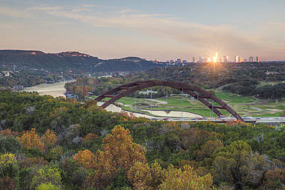 Austin Texas 360 Bridge Autumn Colors Sunburst 1 Art Print