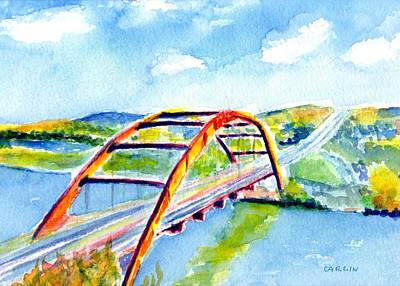 Painting - Austin Texas 360 Bridge Watercolor by Carlin Blahnik CarlinArtWatercolor