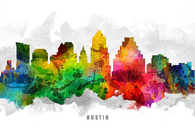 Austin Skyline Wall Art - Painting - Austin Texas Cityscape 12 by Aged Pixel
