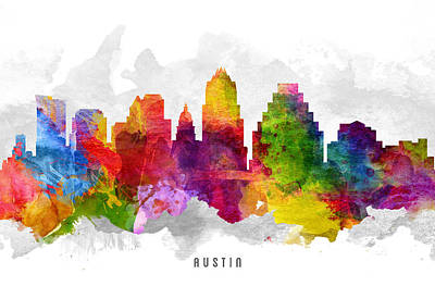 Austin Skyline Wall Art - Painting - Austin Texas Cityscape 13 by Aged Pixel
