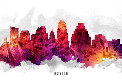 Austin Skyline Wall Art - Painting - Austin Texas Cityscape 14 by Aged Pixel