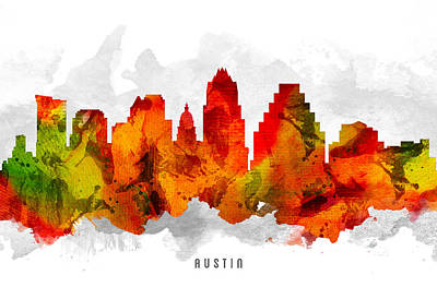 Austin Skyline Wall Art - Painting - Austin Texas Cityscape 15 by Aged Pixel