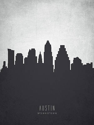 Towns Digital Art - Austin Texas Cityscape 19 by Aged Pixel