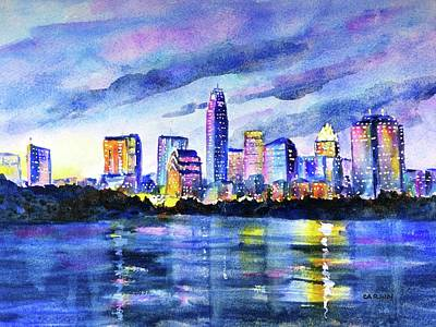 Painting - Austin Texas Colorful Skyline Sunset by Carlin Blahnik CarlinArtWatercolor