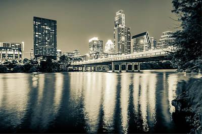 Austin Texas Downtown Skyline At Night On The Colorado River - Sepia Edition Art Print