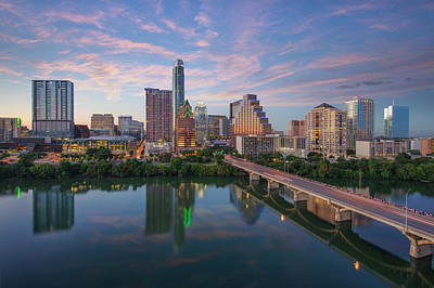 Frost Tower Photograph - Austin Texas Evening Skyline 73 by Rob Greebon