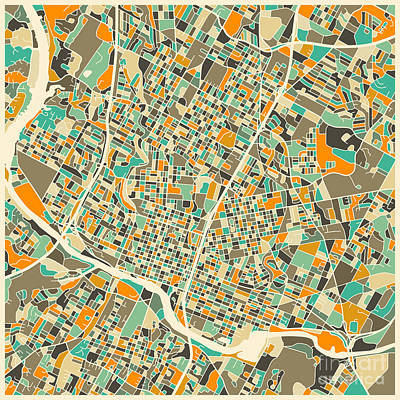 Abstract Map Digital Art - Austin Map by Jazzberry Blue