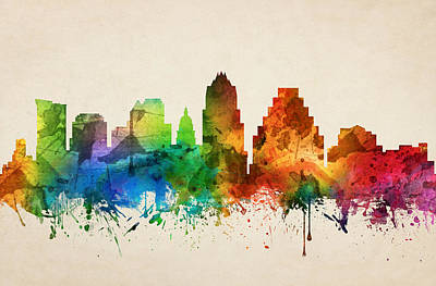 Austin Skyline Painting - Austin Texas Skyline 05 by Aged Pixel